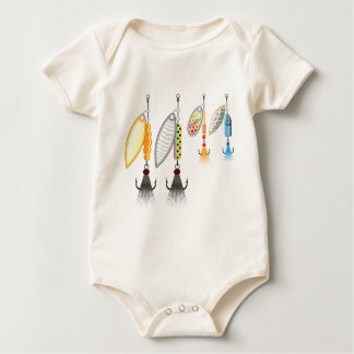 Set of spinners fishing lures vector illustration baby bodysuit