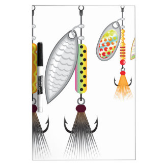 Set of spinners fishing lures vector illustration dry erase board