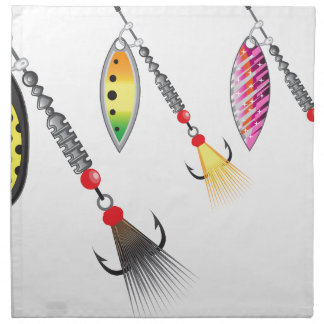 Set of spinners fishing lures vector illustration napkin