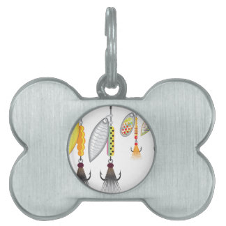 Set of spinners fishing lures vector illustration pet ID tag