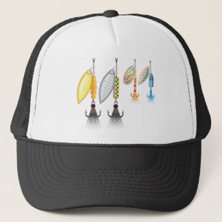 Set of spinners fishing lures vector illustration trucker hat