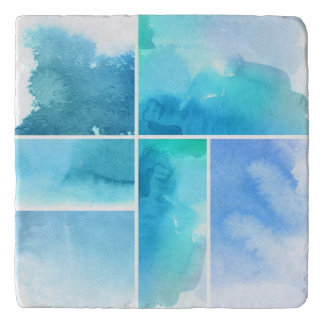 Set of watercolor abstract hand painted 2 trivet