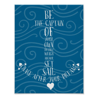 Set Sail & Chase Your Dreams Nautical Quote Anchor Poster