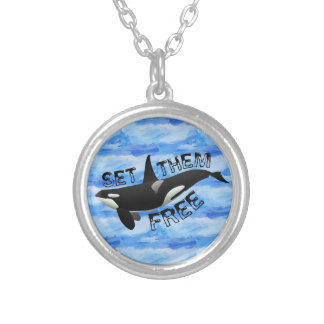 Set them free orca silver plated necklace
