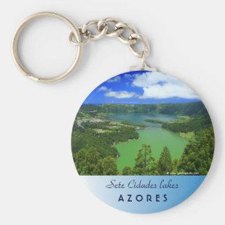 Sete Cidades lakes Basic Round Button Keychain