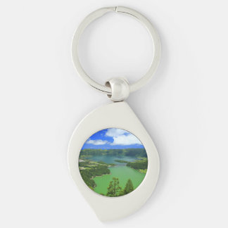 Sete Cidades lakes Silver-Colored Swirl Keychain