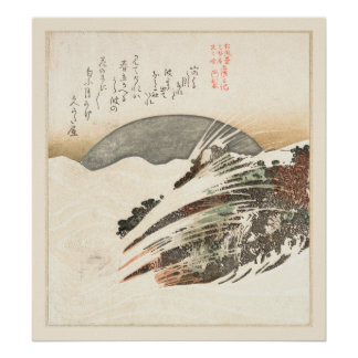Setting Moon on Waves (19th Century) Poster