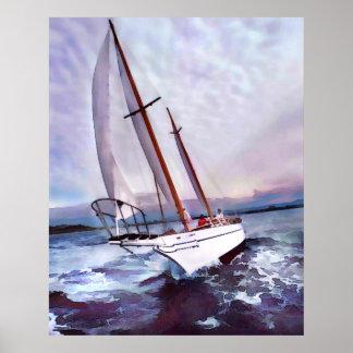 Setting Sail at Daybreak Poster