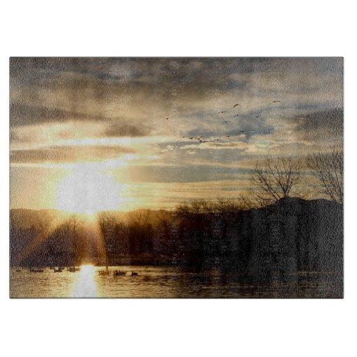 SETTING SUN AT LAKE CUTTING BOARDS
