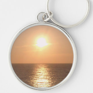 Setting Sun Silver-Colored Round Keychain