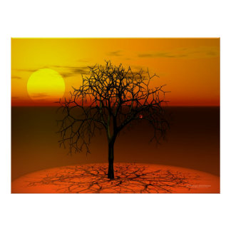 Setting sun & tree poster