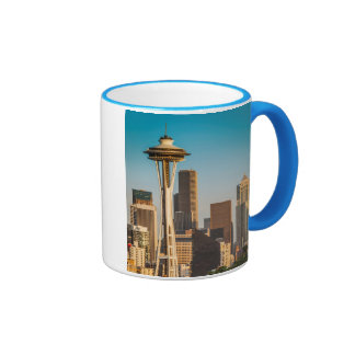 Setting Sunlight On The Space Needle And Seattle Ringer Coffee Mug