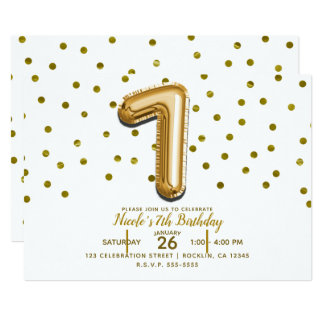 SEVEN 7 Gold Balloon Confetti 7th Birthday Party Card