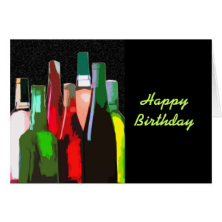 Seven Bottles of Wine on the Wall Birthday Card