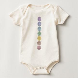 Seven chakra circles design baby bodysuit
