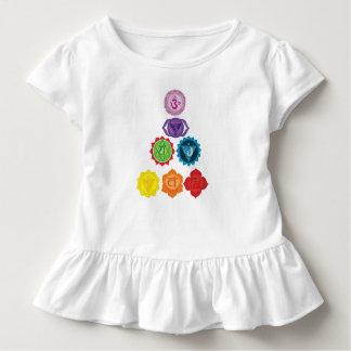 Seven Chakra Yoga Baby Toddler Ruffle Tee, White Toddler T-shirt