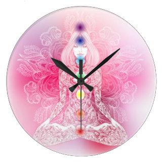 Seven Chakras Pink Lady Large Clock