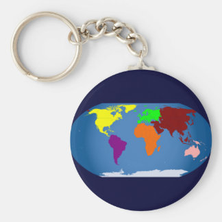 Seven Continents Colored Basic Round Button Keychain