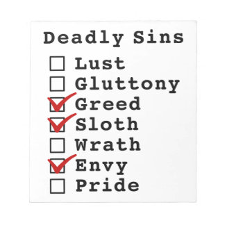 Seven Deadly Sins Checklist (0011010) Notepads