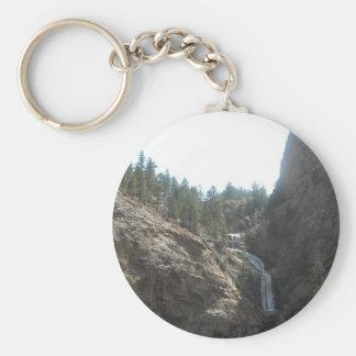 seven falls basic round button keychain