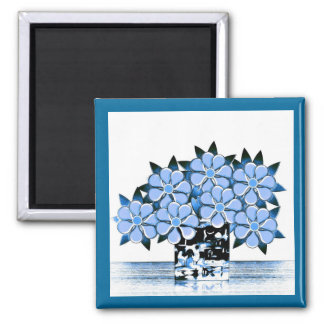 Seven Flowers and Vase Blues Magnet