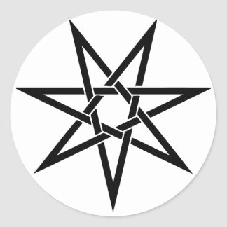 Seven Pointed Star Classic Round Sticker