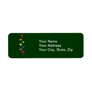 Seven Rainbow Colored  Heart Balloons Return Address Label