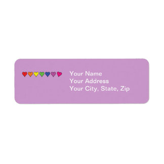 Seven Rainbow Colored Hearts Return Address Label
