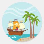 Seven seas Pirate! Round Stickers