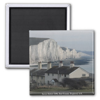 Seven Sisters Cliffs, East Sussex, England, U.K. Square Magnet