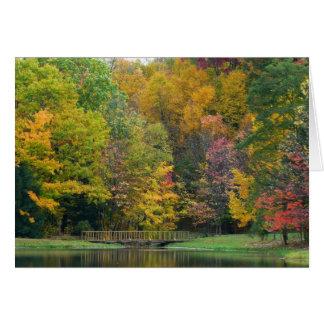Seven Springs Fall Bridge II Autumn Landscape Card