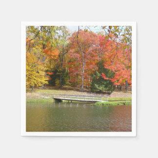 Seven Springs Fall Bridge III Autumn Landscape Paper Napkin