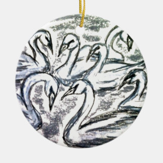 Seven Swans A Swimming Ceramic Ornament