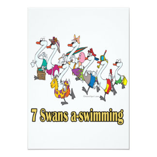seven swans a-swimming seventh 7th day christmas invites