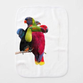 Seven Tropical Bird's Burp Cloth
