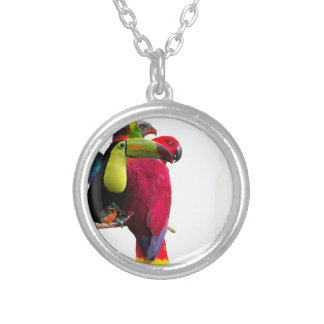 Seven Tropical Bird's Silver Plated Necklace