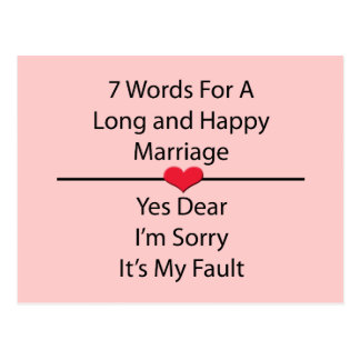 Seven Words For a Long and Happy Marriage Postcard