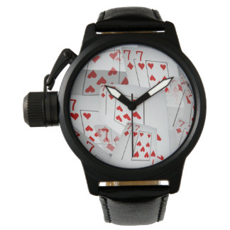 Sevens, Poker Cards, Mens Black Leather Watch. Wrist Watches