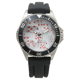 Sevens, Poker Cards, Mens Black Rubber Watch. Wrist Watches