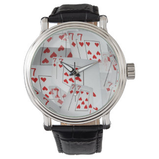 Sevens, Poker Cards, Mens Leather Big Face Watch. Wristwatch