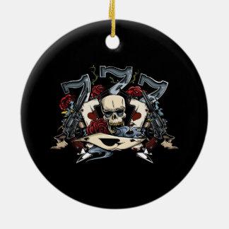 Sevens Skull Guns Roses Ace Of Spades Gambling Ceramic Ornament