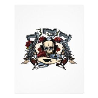 Sevens Skull Guns Roses Ace Of Spades Gambling Letterhead Template