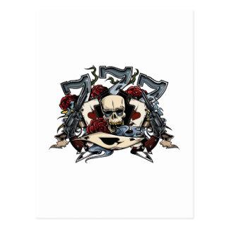 Sevens Skull Guns Roses Ace Of Spades Gambling Postcard