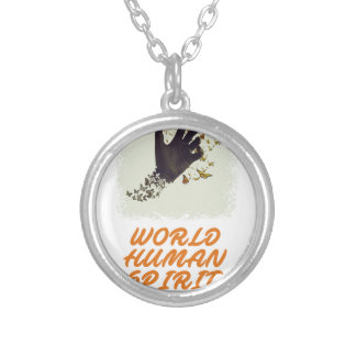 Seventeenth February - World Human Spirit Day Silver Plated Necklace