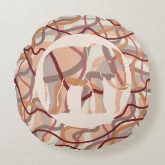 Seventies Retro Wavy Lines and Elephant Round Pillow