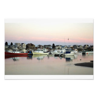 Several Boat's Reflections in Wells Harbor. Photo Print
