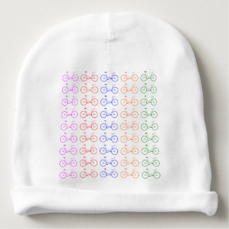 Several colorful bycicle baby beanie