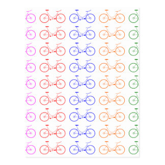 Several colorful bycicle postcard
