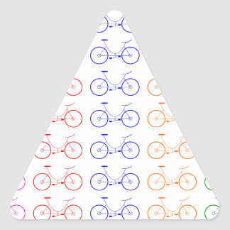 Several colorful bycicle triangle sticker