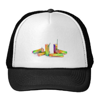 Several colorful fire work ground flowers trucker hat